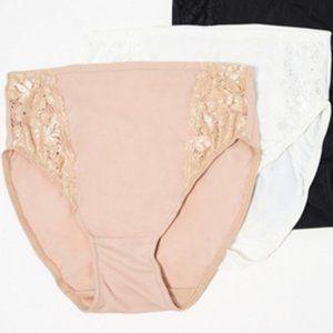 3 Breezies Soft Sup Lace Hi-Cut Panties Lg P2242